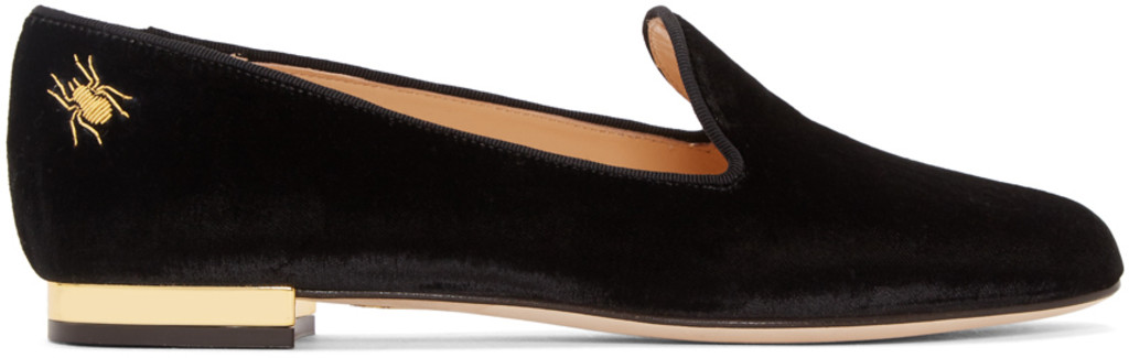 Charlotte Olympia Navy Velvet Nocturnal Loafers