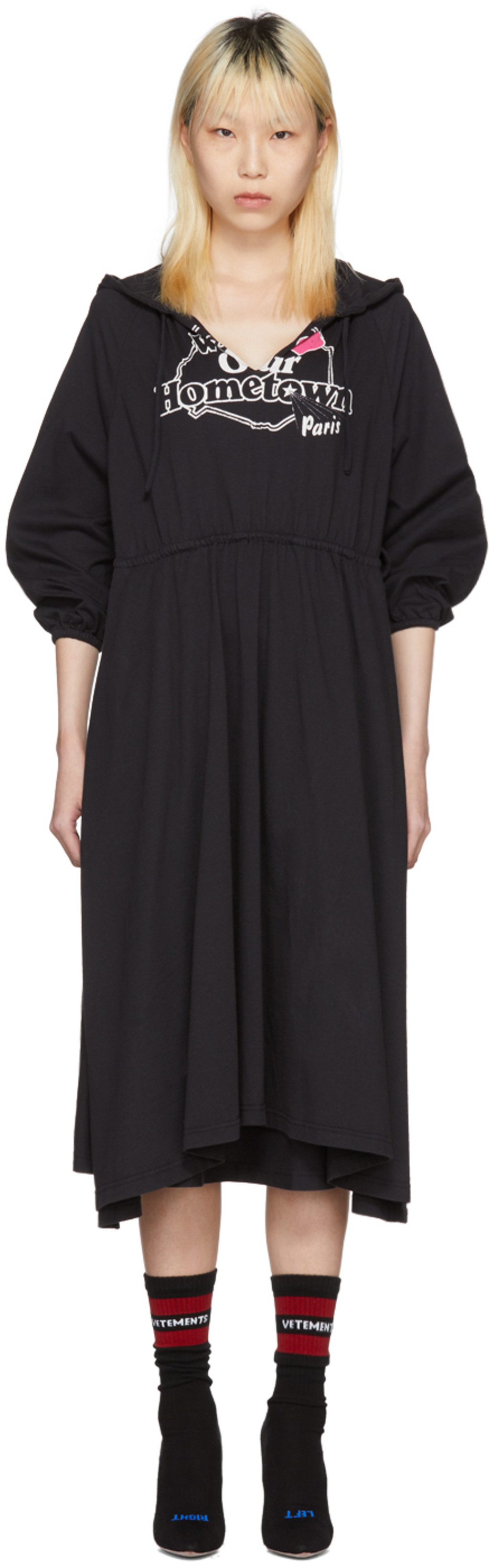 Black Hometown Hooded Jersey Dress VETEMENTS
