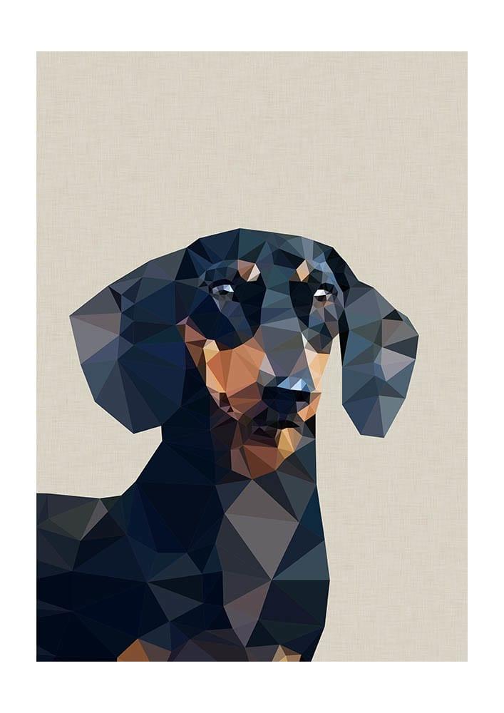 East End Prints  Daschund Dog  A3 Unframed Print