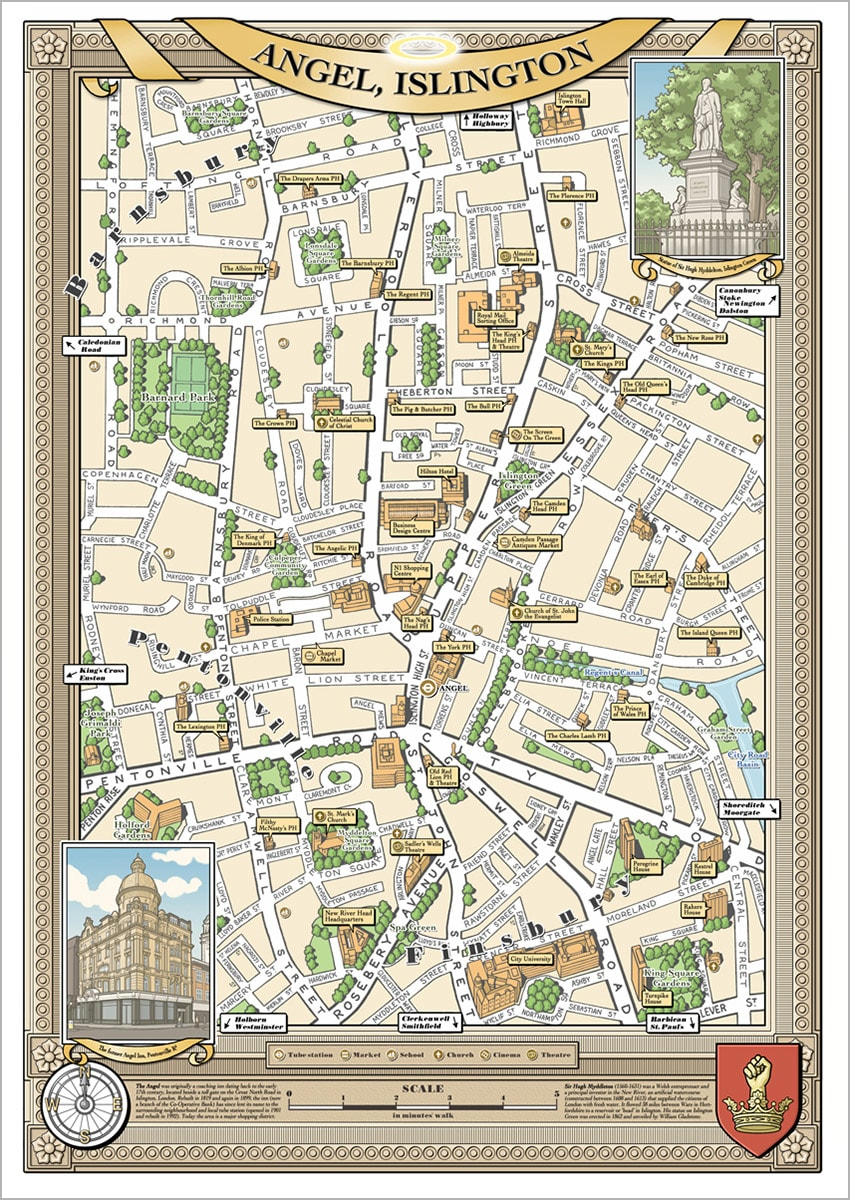 Angel London Map.Trouva London Borough Of Angel Illustrated Map