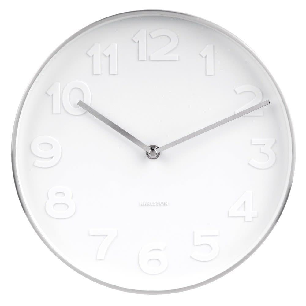 Karlsson Mr White Silver Case Wall Clock