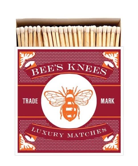 Archivist Long Luxury Matches In A Square Box With The Bees Knees Design