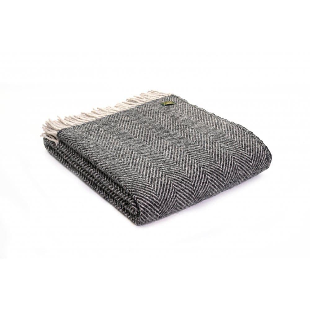 Trouva  Jeté à chevrons pure laine vierge anthracite et gris argenté 47a053330e9