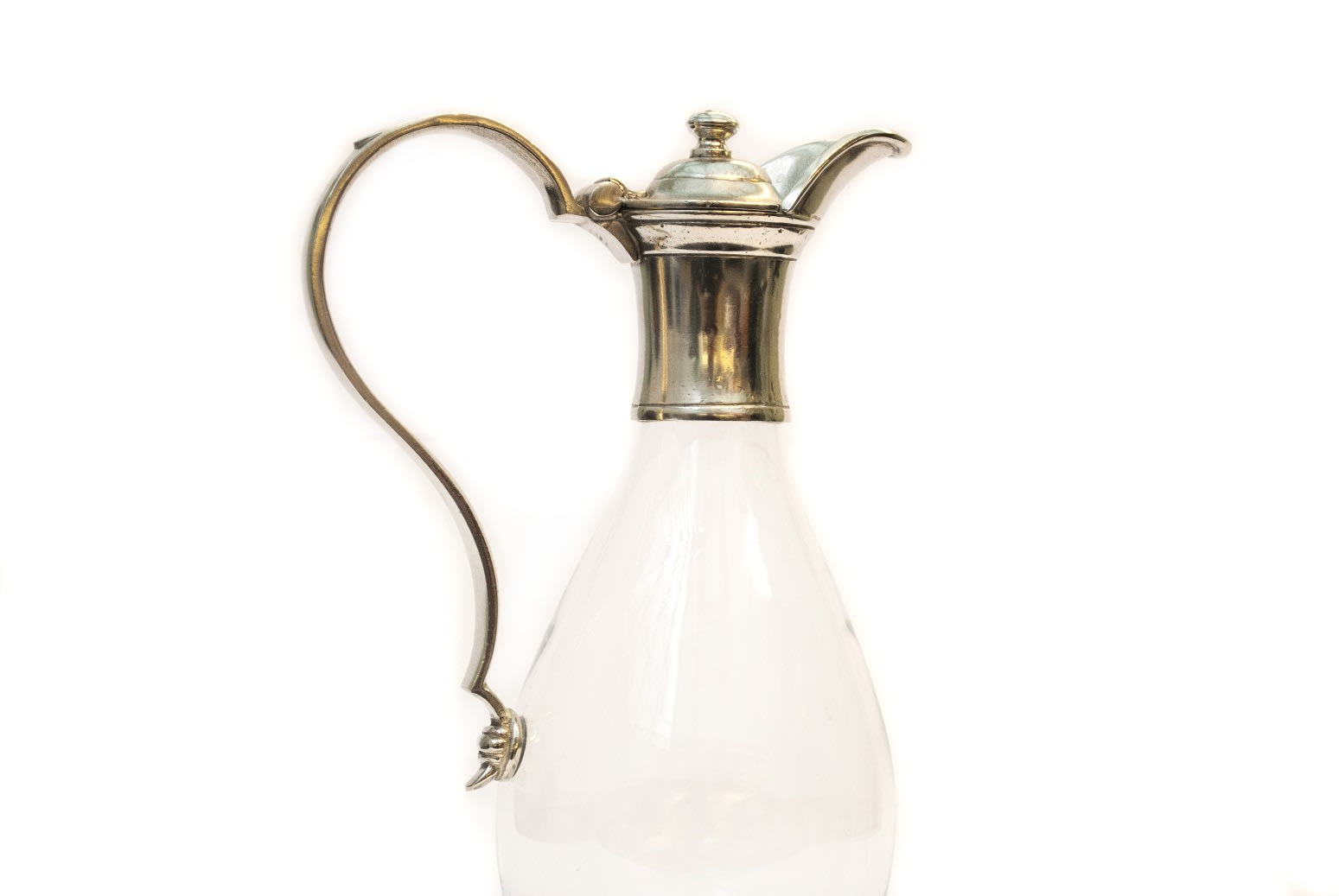 Italian Pewter and Glass Claret Jug