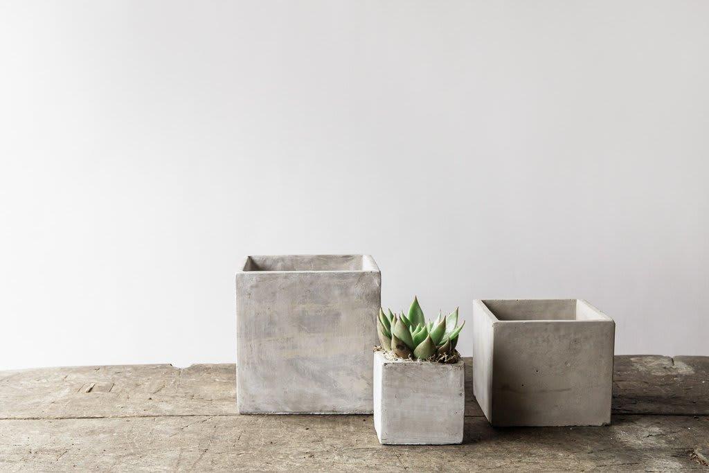 Small Square Concrete Plant Pot (12x12)