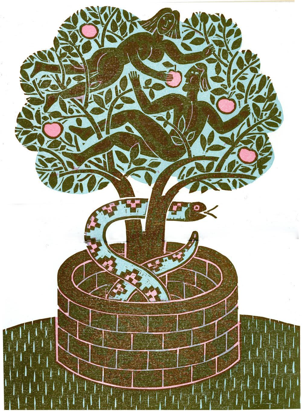 Bernard Lodge Adam & Eve Unframed Print
