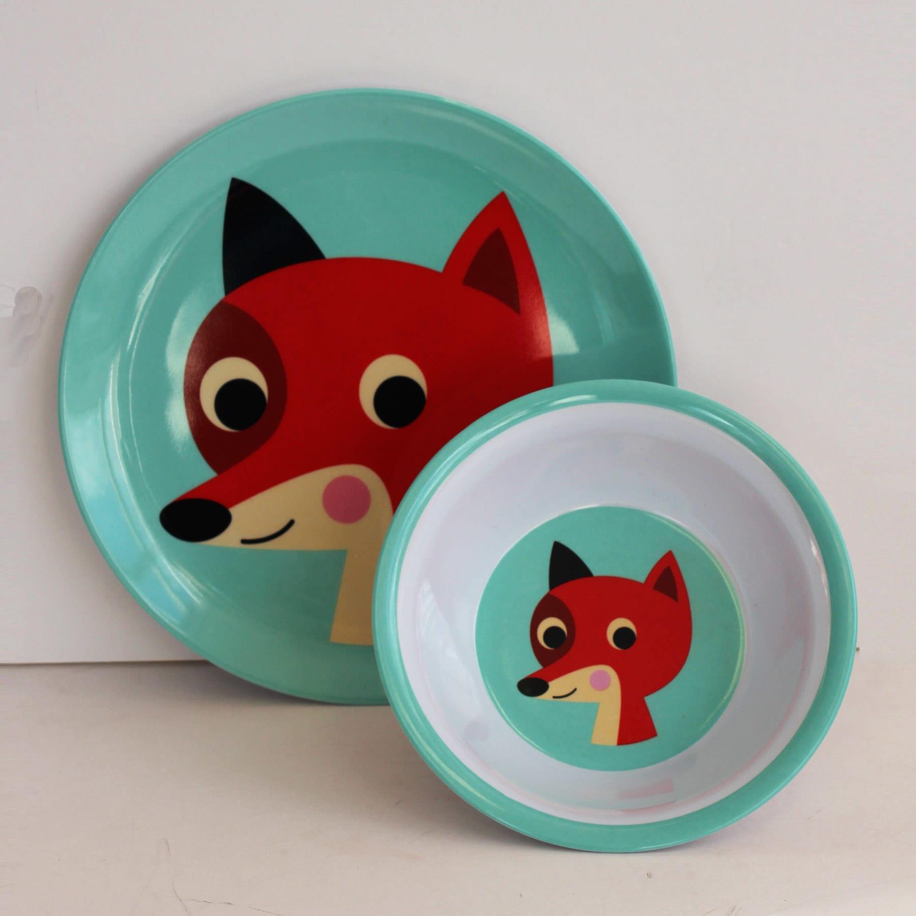Omm Design Vintage Mint Fox Melamine Plate