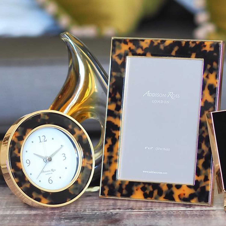 Addison Ross Round Tortoiseshell Alarm Clock