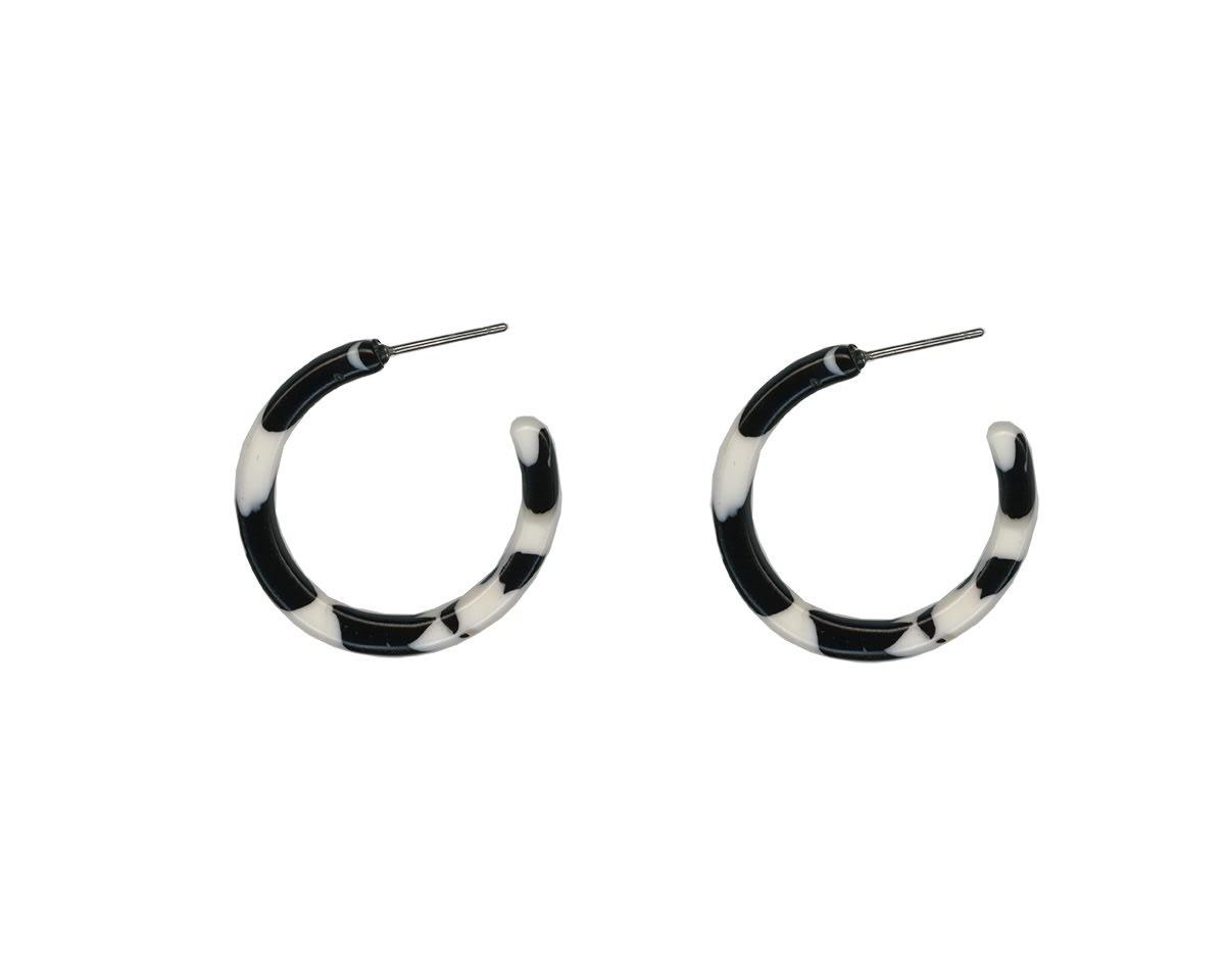 Big Metal London Black & White Ava Resin Tiny Hoop Earrings