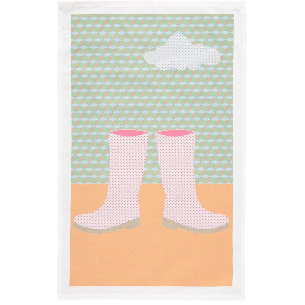 Catherine Tough Muddy Wellies Tea Towel