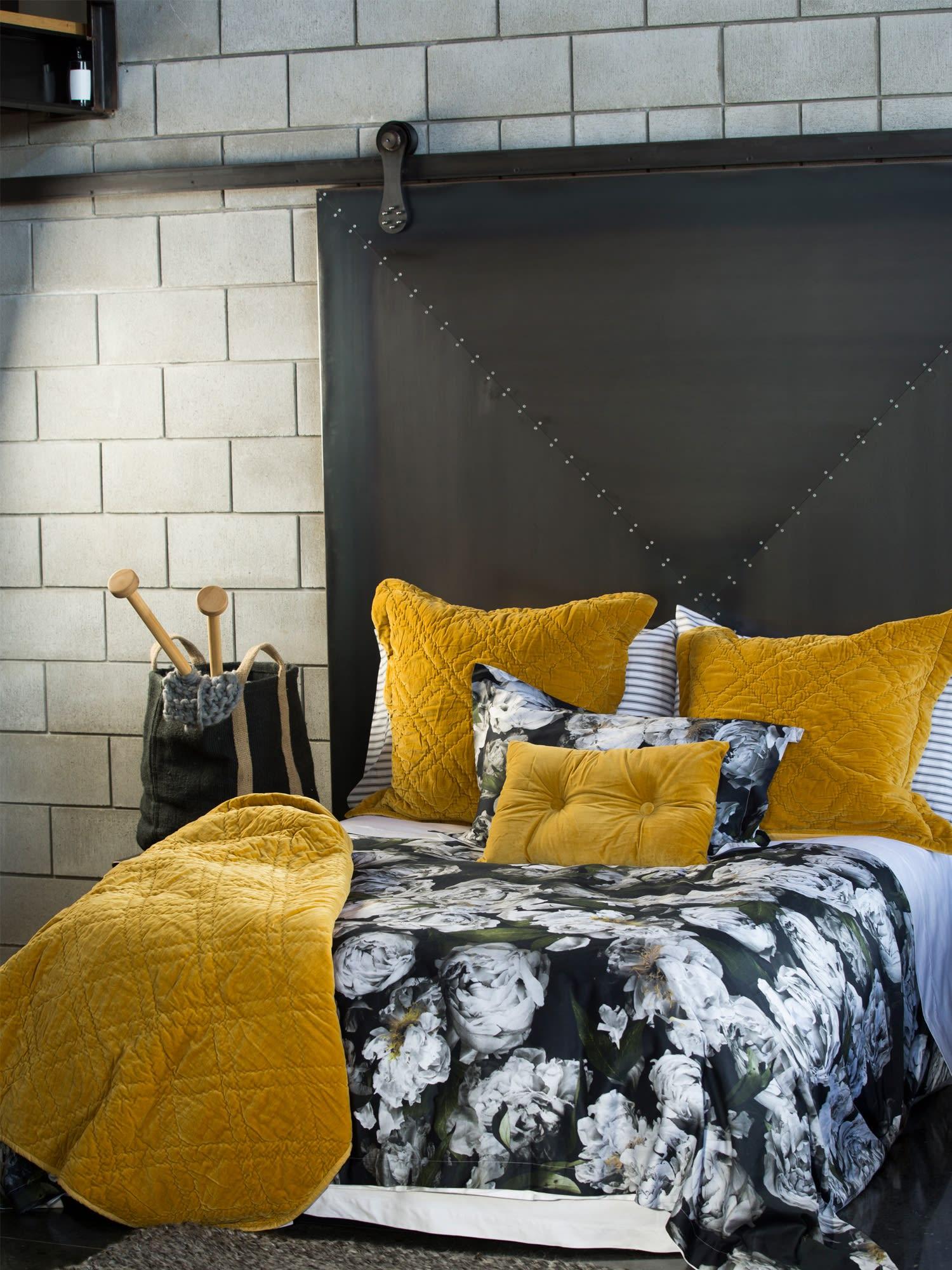 Wallace Cotton Extra Large Mustard Plush Velvet Bedspread