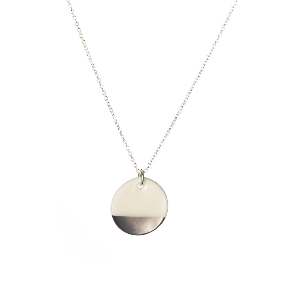 One & Eight White Porcelain Silver Dipped Disc Necklace