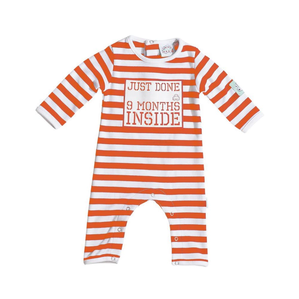 Lazy Baby Orange And White Just Done 9 Months Inside Baby Grow