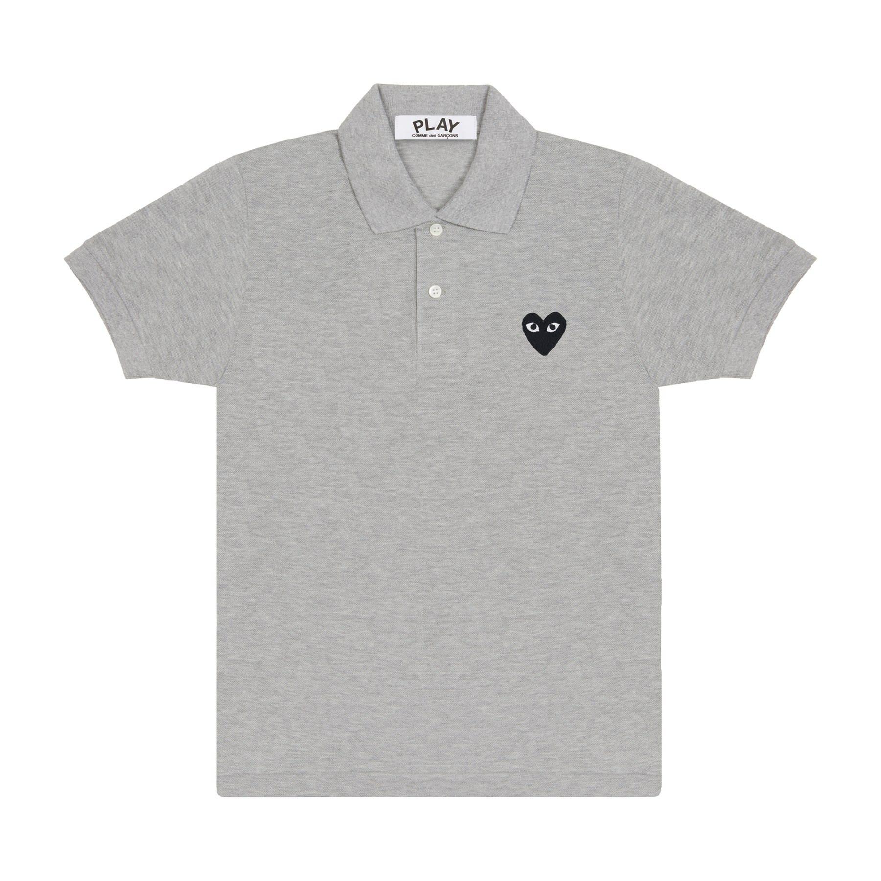 Comme Des Garcons Play CDG Grey Black Play Polo Shirt