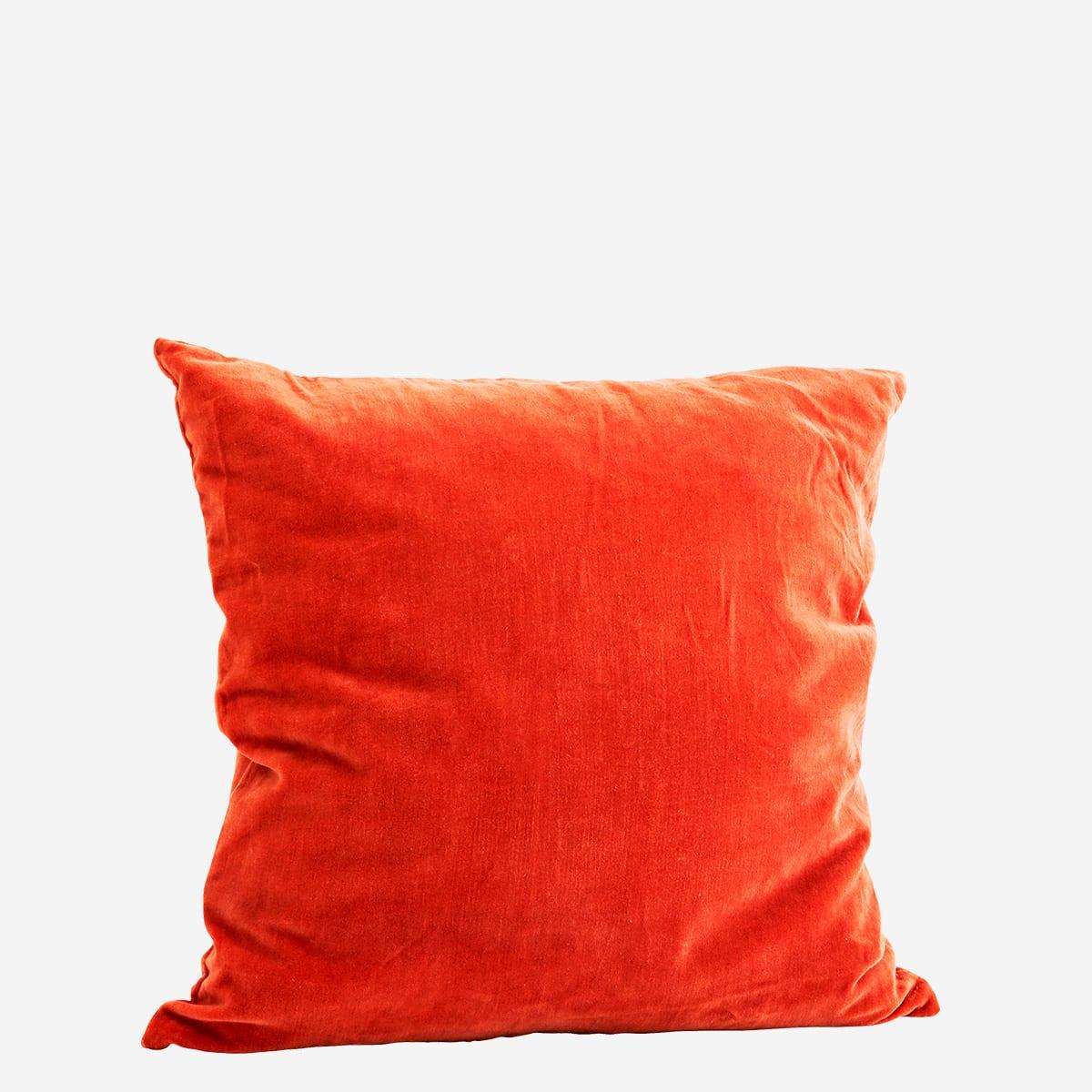 Madam Stoltz Rust Velvet Cushion