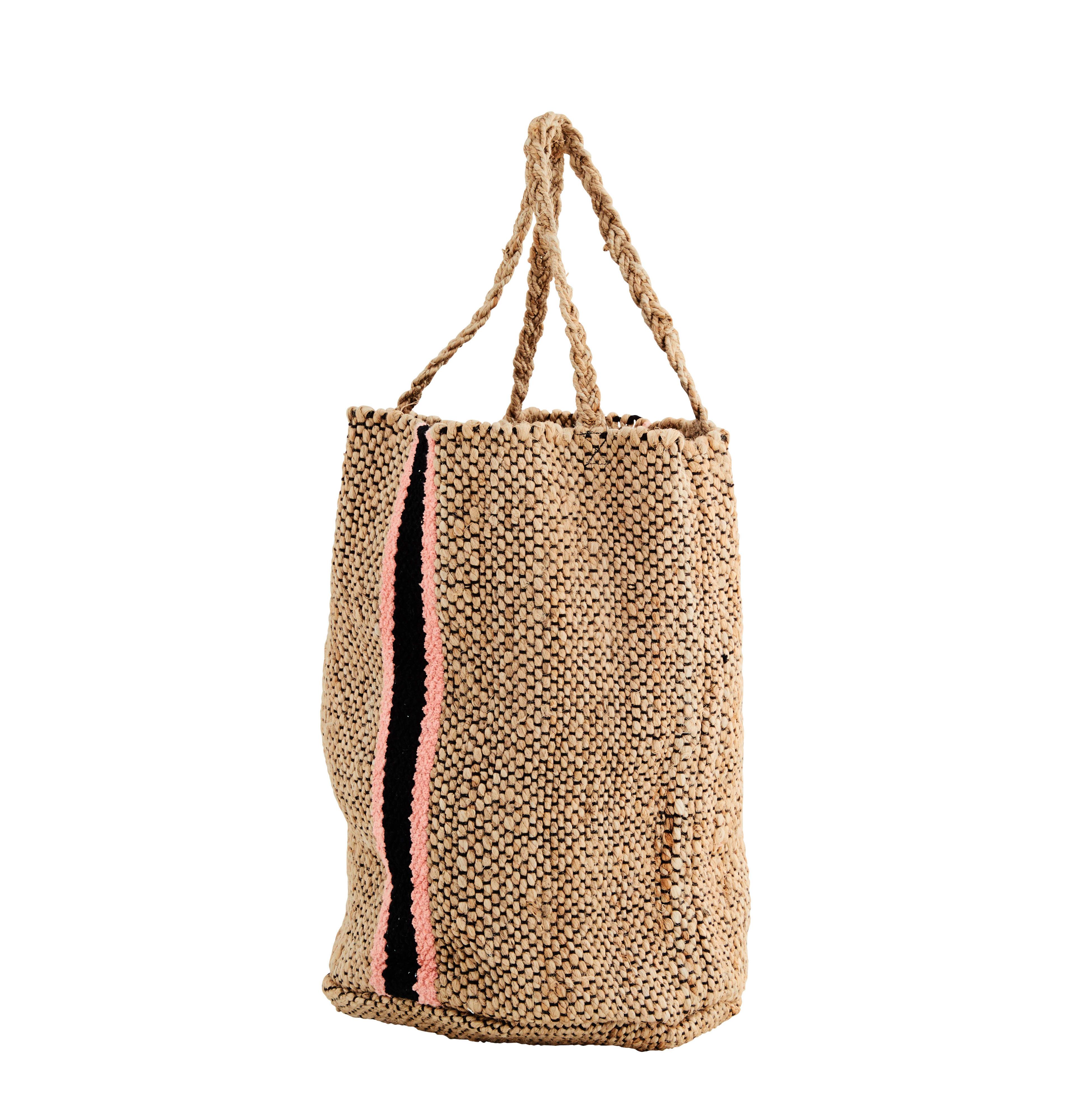 Madam Stoltz Woven Jute Bag with Black & Coral Chenille Detail