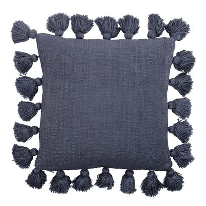 Bloomingville Giant Washed Navy Tassel Cushion