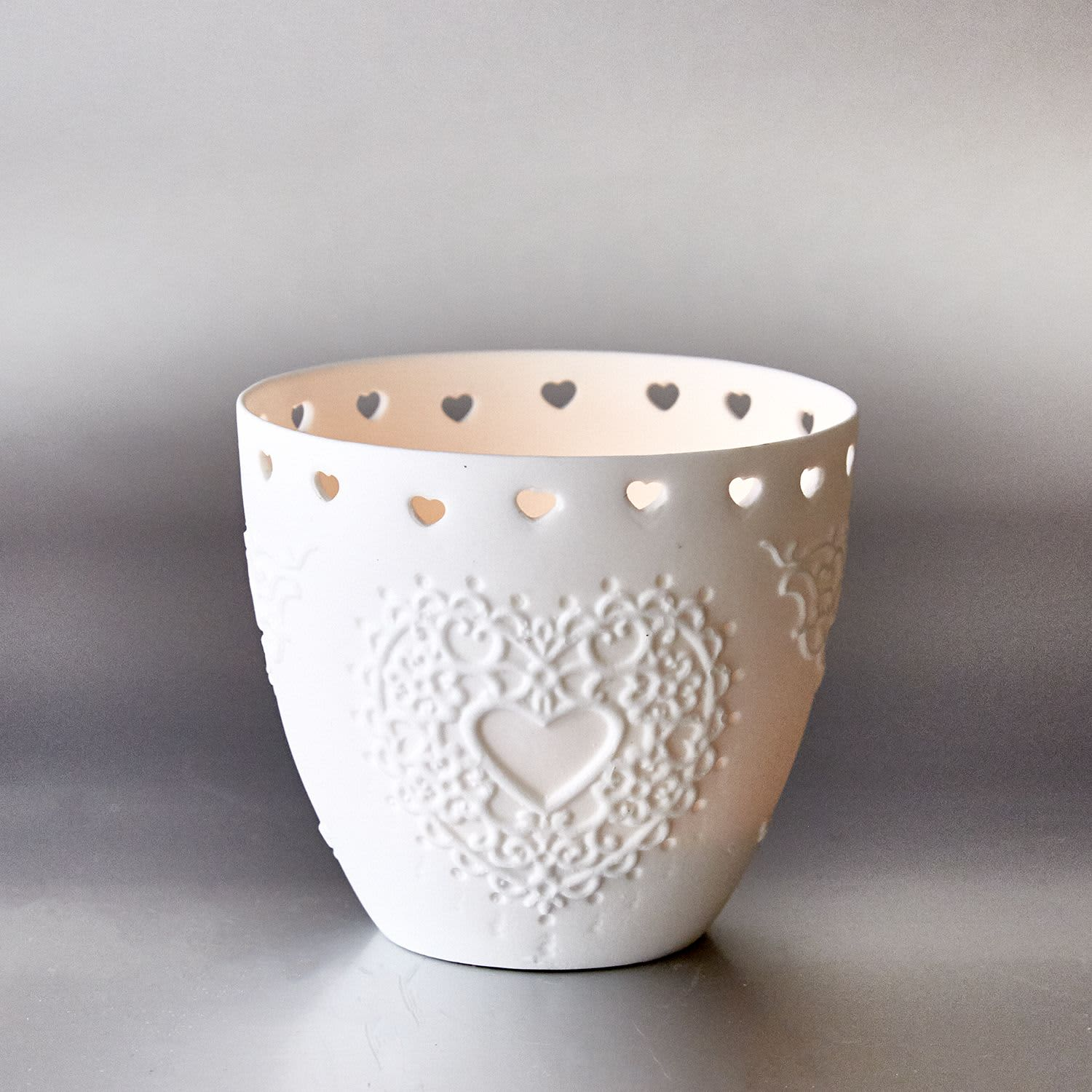 Light-Glow Heart Tea Light Candle Holder Cup