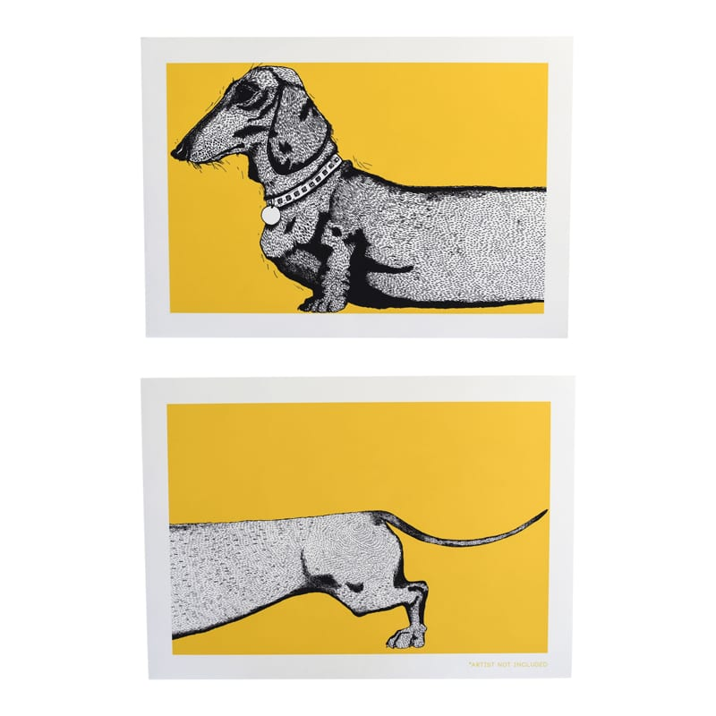 Charley Rabbit Publishing Yellow Sausage Dog/ Dachshund Head and Tail Art Print Set