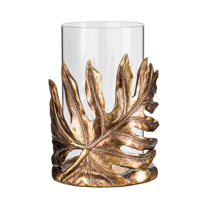 Monstera Leaf Tropical Hurricane Lantern