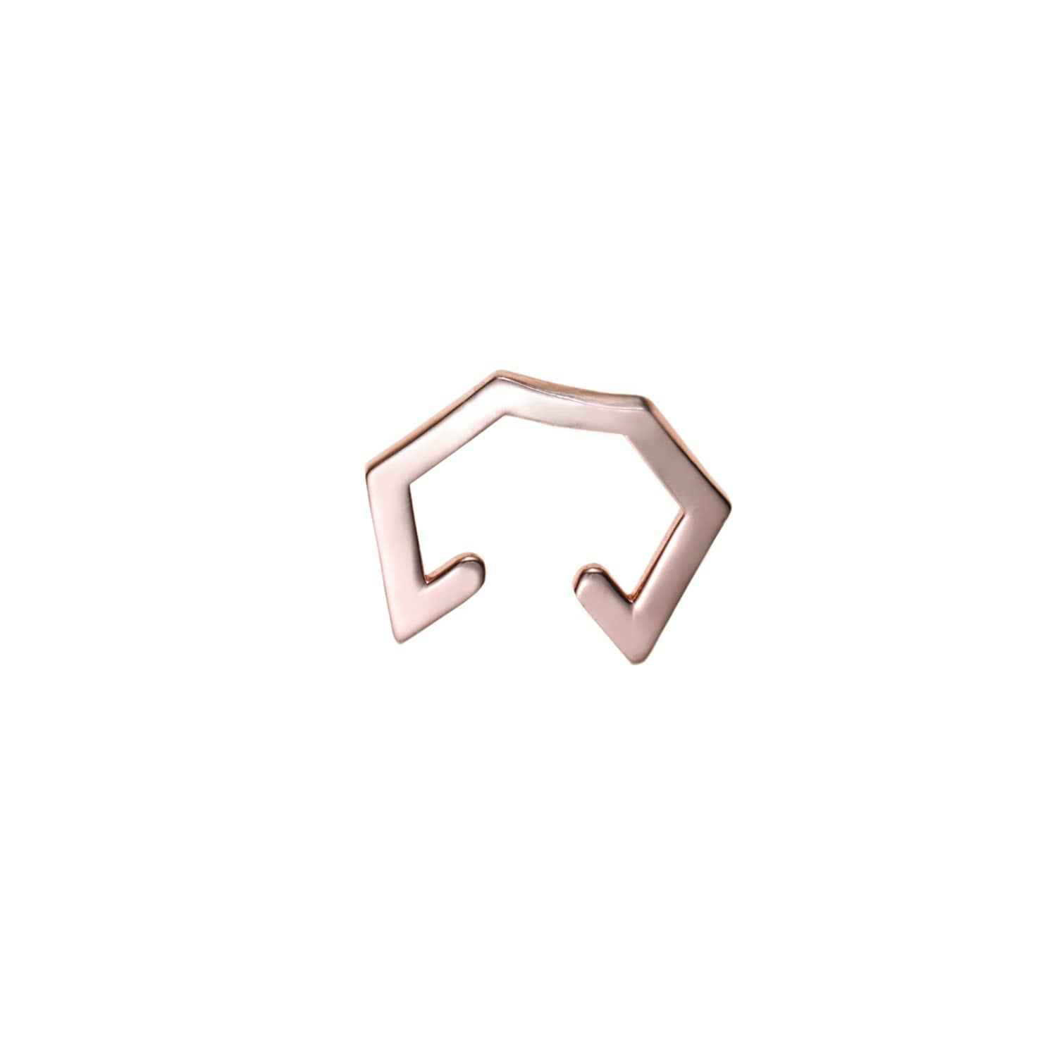 Rose Gold Hexagon Cuff Earring