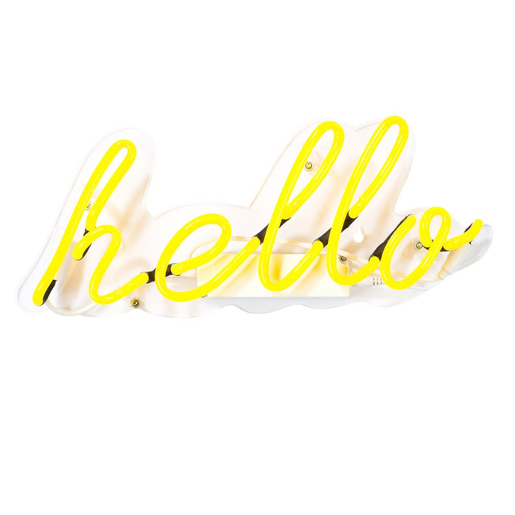 Talking Tables Neon Yellow 'hello' Wall Light