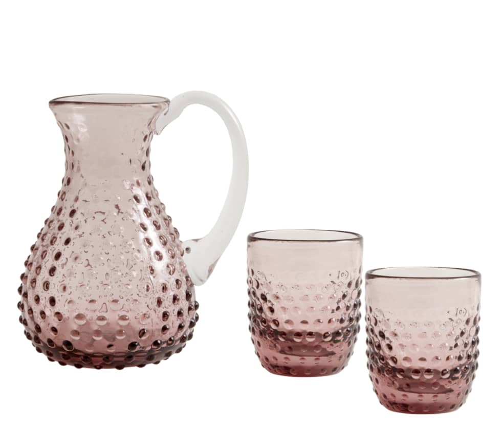 Nordal Pink Glass Jug & Pair Of Drinking Glasses
