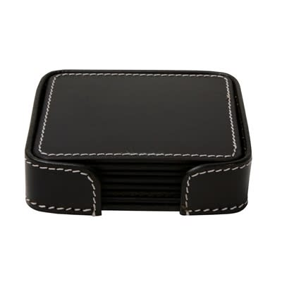 Black Set of 6 Leather Coasters