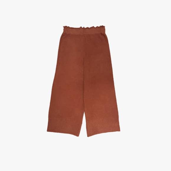 Wide Leg Knitted Trousers in Terracotta