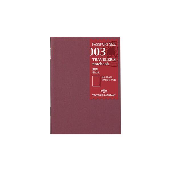 Traveler's Company Traveler's Notebook Refill 003 Blank Passport Size