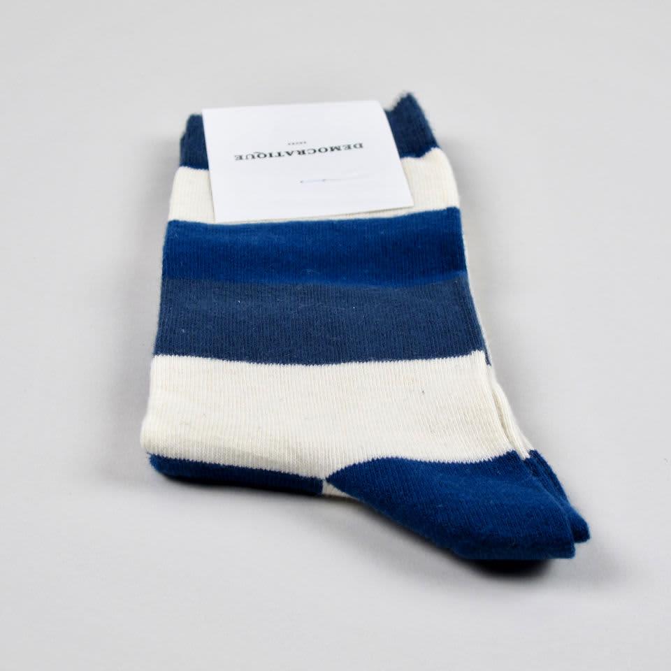 Democratique Socks New Blue/Off White/Shaded Blue Heavy Stripes Men's Socks