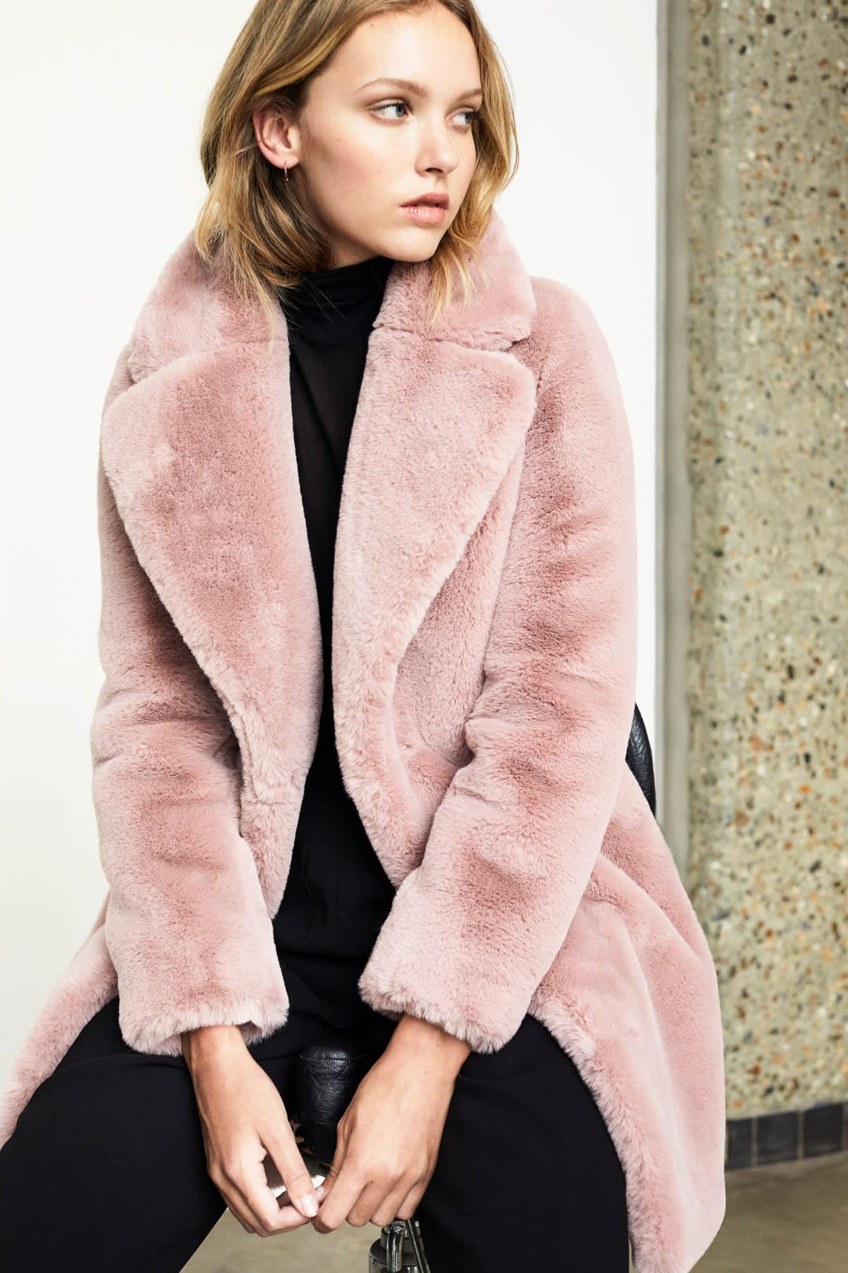 Spoom Soft Pink Kiva Faux Fur Coat