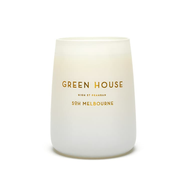 SOH Melbourne White Matte Glass Green House Scented Candle