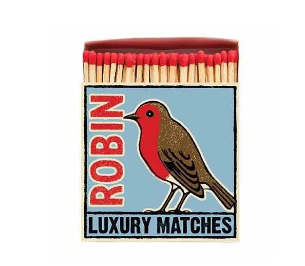 Archivist Luxury Long Matches in a Square Box with a Robin on the front
