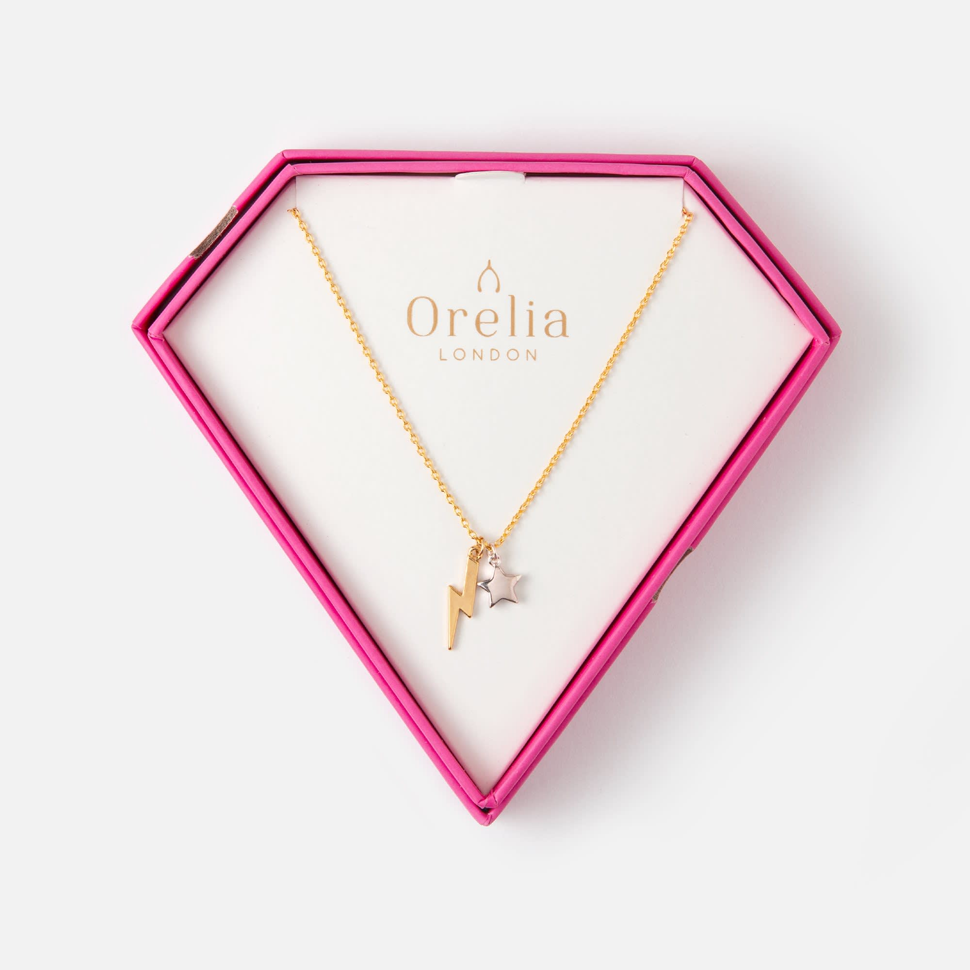 Orelia Pink Gift Box Lightning Gold Plated Necklace