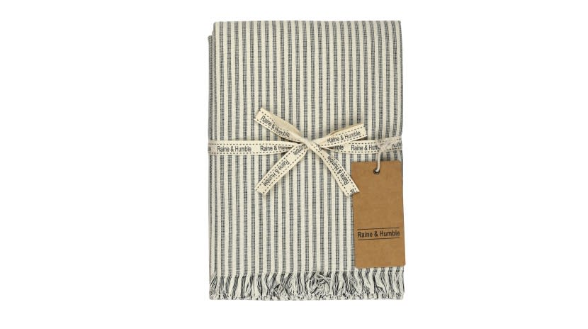 Raine And Humble Charcoal Manor Stripe Tablecloth