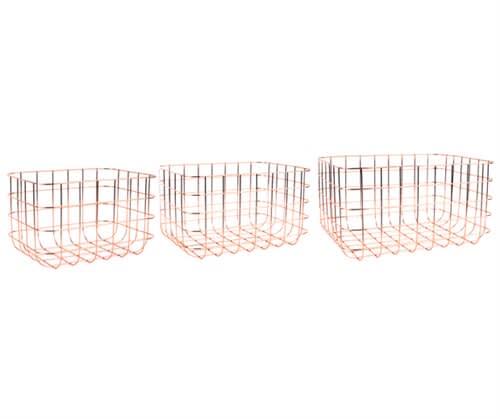 Present Time Medium Iron Copper Plated Basket Grid