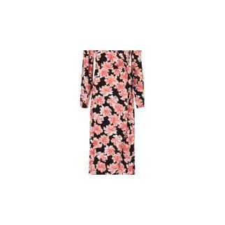 Fabienne Chapot Black Sahara Pink Desert Flower Natasja Midi Wrap Dress