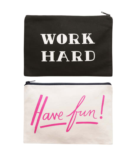 Trouva: Alphabet Bags 'Work Hard/ Have Fun' Doubles Sided ...