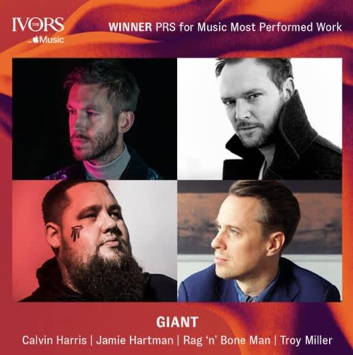 "Calvin Harris&Rag'n'Bone Man's ""Giant"" wins PRS Music Ivors 2020 Award"