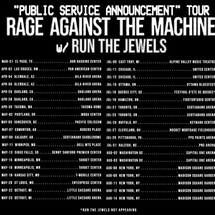 Run The Jewels & Rage Against The Machine announce rescheduled tour dates