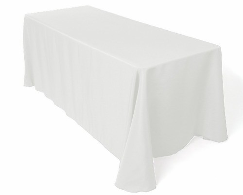 8 ft White Tablecloth