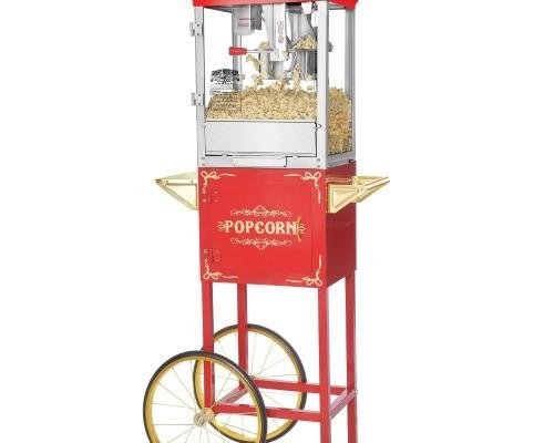 Red Popcorn Popper Machine Rolling Cart
