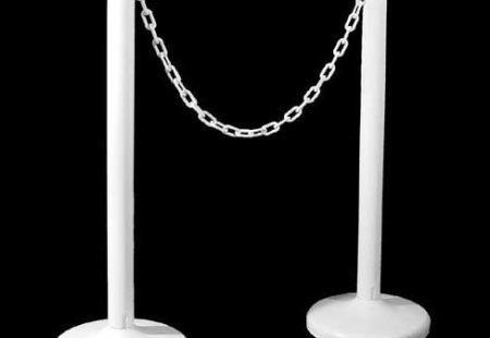 White Plastic Stanchion w/ Plastic Chain