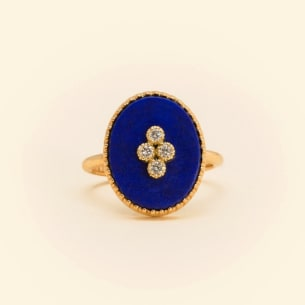 La Rose des Alizes - Lapis lazuli - ring yellow gold