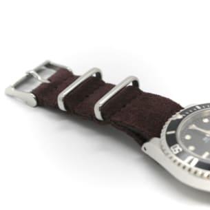 Montre Bracelet en Daim Brun