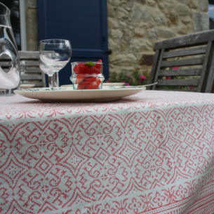 IKAT PINK Rectangular Tablecloth - 100% Organic Cotton - Block-printing - 150 x 250 cm