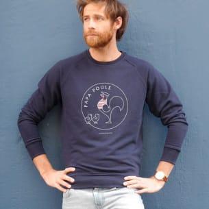 Sweat-shirt Papa Poule 2 Poussins Bleu Personnalisation