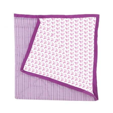Couverture Reina cheval / rayures rose