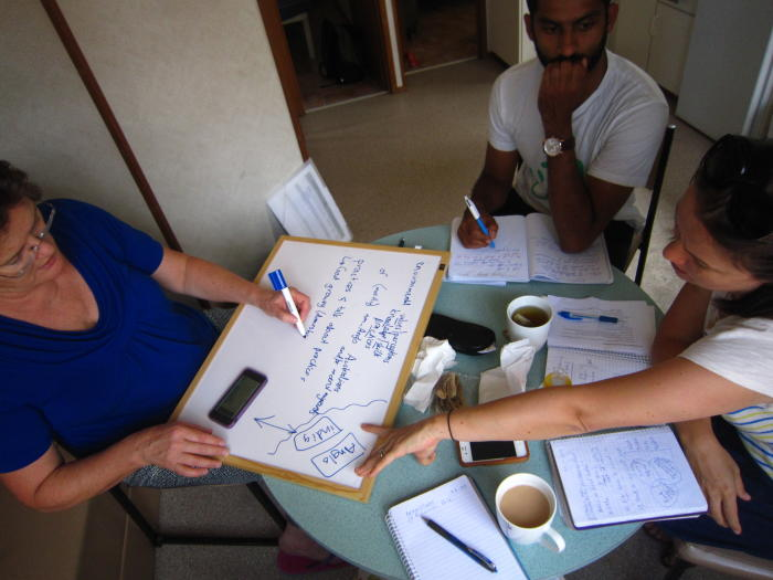Professor Lesley Head during a brainstorming session with students. Picture: Lesley head